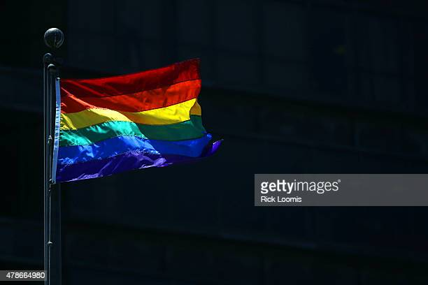 A rainbow Pride Flag flies over the Civic Plaza on June 26 2015 in Long Beach California The US Supreme Court ruled that samesex couples have the...