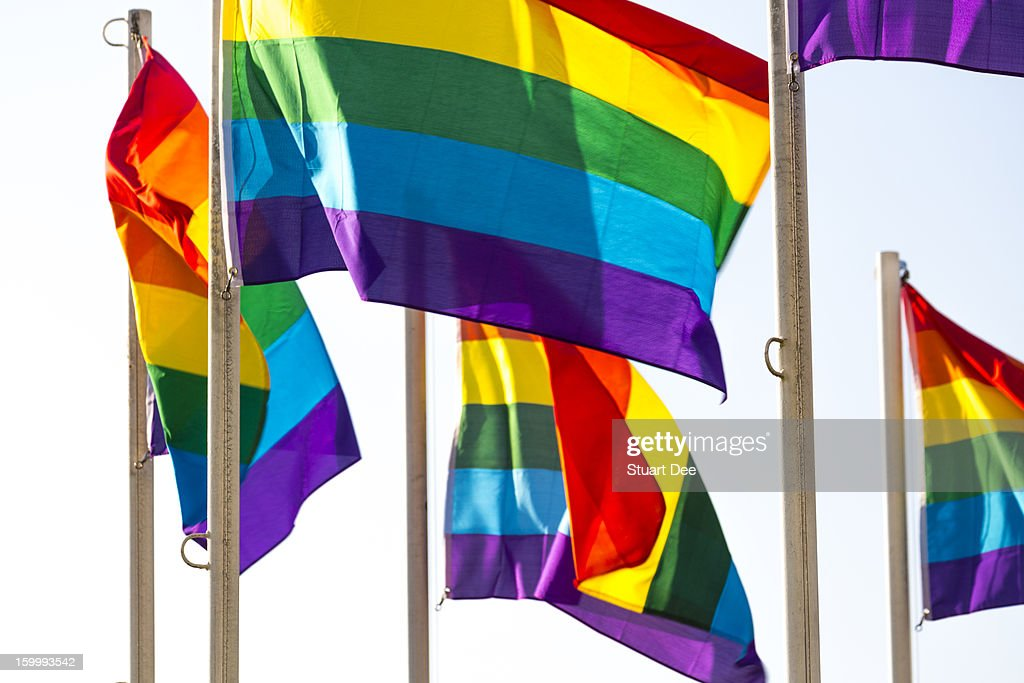 Rainbow Pride flags against white background : Stock Photo