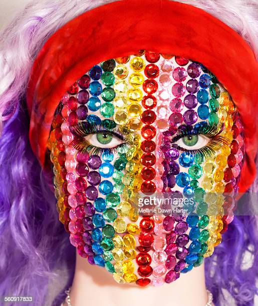Rainbow rhinestone mask