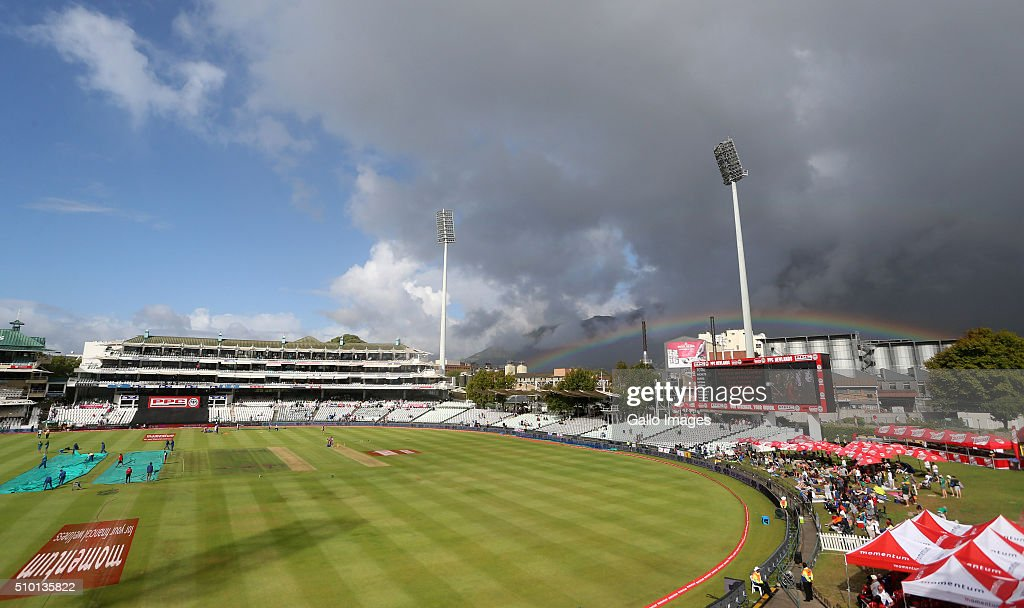 A rainbow rises behind Newlands Stadium during the 5th Momentum ODI Series match between South Africa and England at PPC Newlands on February 14, 2016 in Cape Town, South Africa.