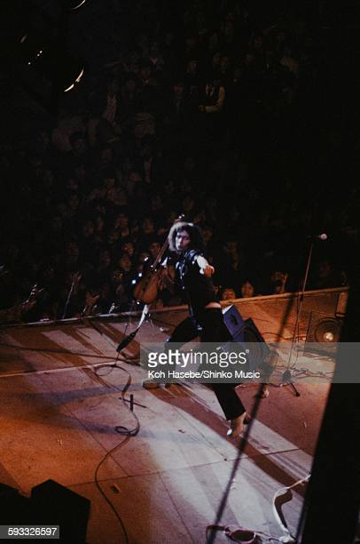 Rainbow Ritchie Blackmore wrecking guitar on stage at Nippon Budokan Tokyo August 26 1981