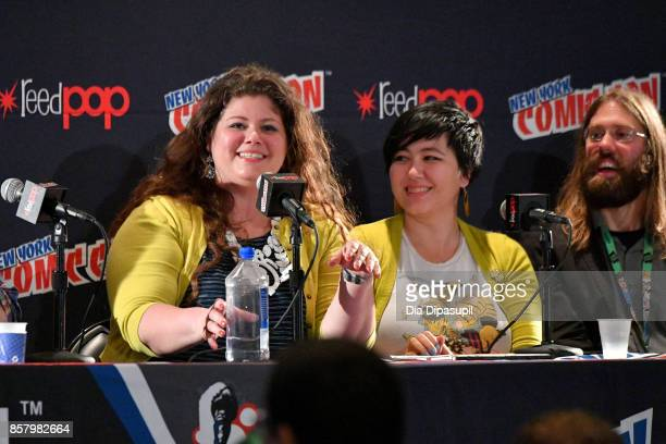 Rainbow Rowell Erica Henderson and Mark Basso speak during 'Marvel Legacy Next Big Thing' at 2017 New York Comic Con Day 1 on October 5 2017 in New...