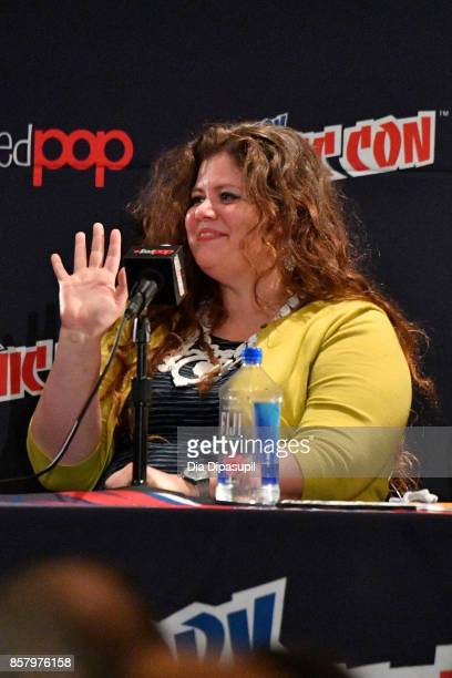 Rainbow Rowell speaks during the Marvel Legacy Next Big Thing 2017 New York Comic Con Day 1 on October 5 2017 in New York City