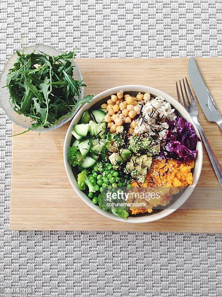 Rainbow salad bowl with sweet potato, chickpeas and brown rice