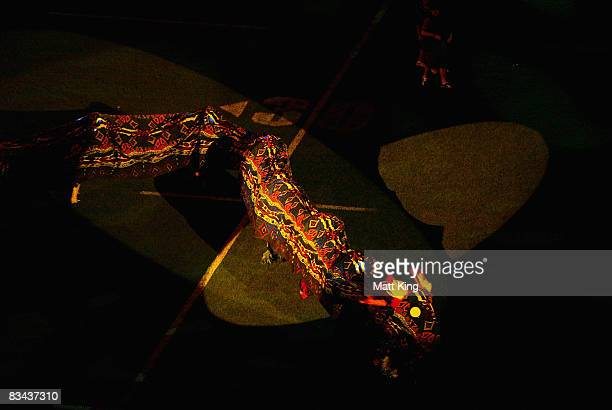 A rainbow serpent is seen on the field during the 2008 Rugby League World Cup Opening Ceremony at the Sydney Football Satdium on October 26 2008 in...