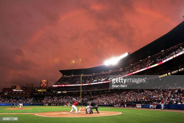 A rainbow settles over the field in the ninth inning as the Atlanta Braves try to mount a comeback against the Houston Astros in Game One of the 2005...