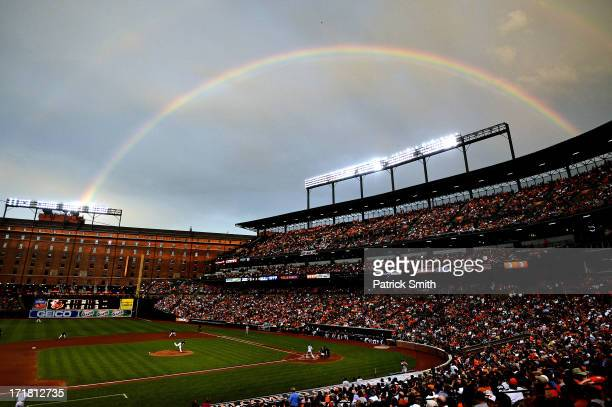 A rainbow shines in the sky as pitcher Kevin Gausman of the Baltimore Orioles works batter Alberto Gonzalez of the New York Yankees in the fourth...