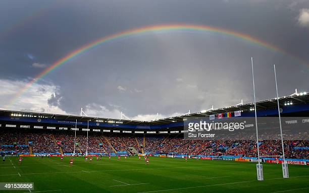 A rainbow shines over the stadium during the 2015 Rugby World Cup Pool D match between Canada and Romania at Leicester City Stadium on October 6 2015...