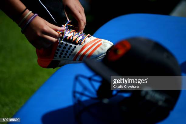 Rainbow shoes laces are seen during the Kia Super League Match between Southern Vipers and Western Storm at The Ageas Bowl on August 10 2017 in...