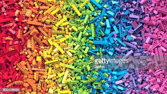 Rainbow toy blocks background. 3D Rendering : Stock Photo