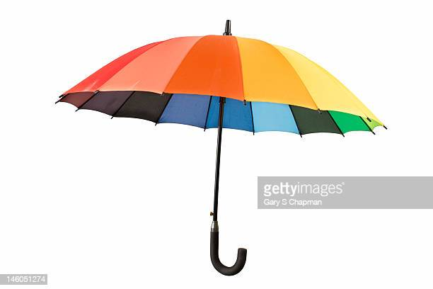 Rainbow umbrella on white
