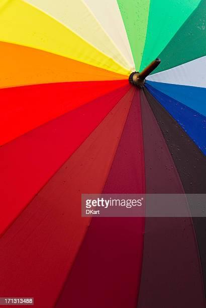 Rainbow umbrella with rain drops