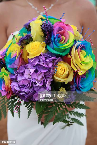 Rainbow wedding bouquet