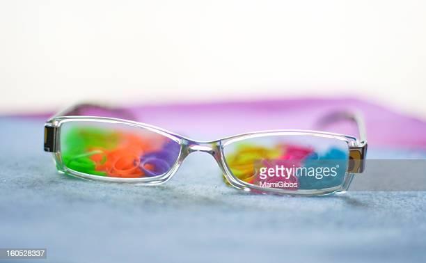 Rainbow-colored glasses
