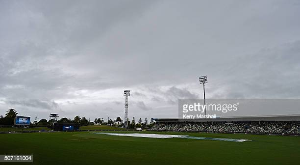 Rainclouds over a drenched McLean Park before the 2nd ODI NZ vs Pakistan on January 28 2016 in Napier New Zealand