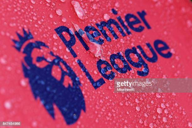 Raindrops are seen on a Premier League logo prior to the Premier League match between AFC Bournemouth and Brighton and Hove Albion at Vitality...