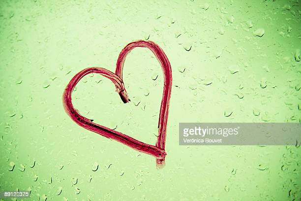 Raindrops falling on a heart