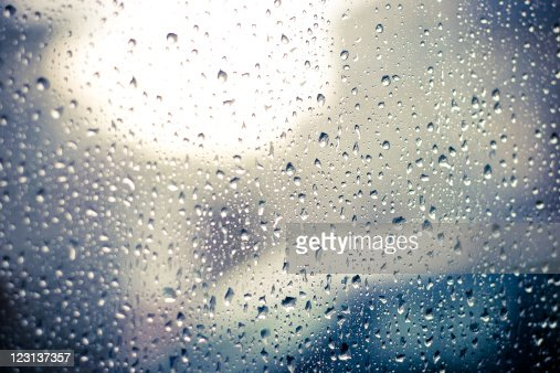 Raindrops on car window