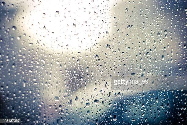 Raindrops on car window