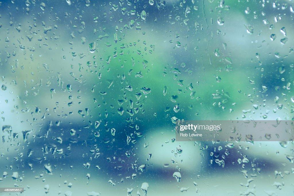 Raindrops on glass pane