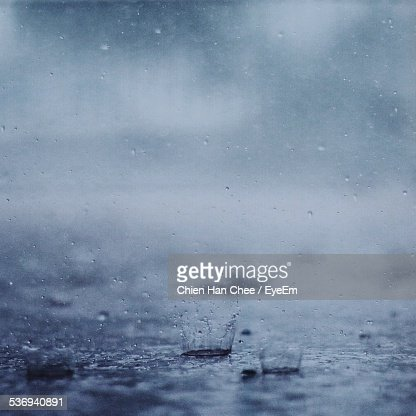 Raindrops Splashing On Ground