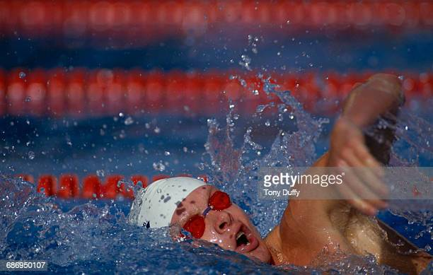 Rainer Henkel of Germany swims during the Men's 400 metres freestyle event at the V FINA World Swimming Championships on 21 August 1986 at the M86...