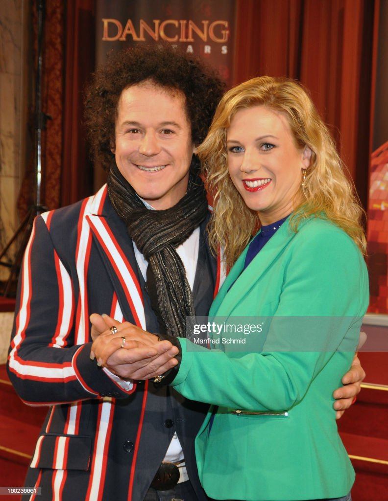 Rainer Schoenfelder (L) and Manuela Stoeckl (R) are presented as dance partners at a press conference during the eighth season of TV show 'ORF Dancing Stars 2013' on January 28, 2013 in Vienna, Austria.
