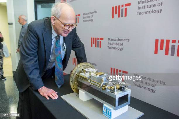 Rainer Weiss professor emeritus of physics at MIT looks at a prototype he built c 1974 of a radio frequency modulated test inteferomater following a...
