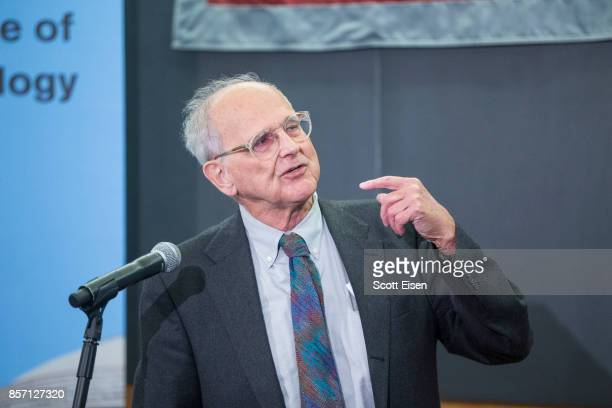 Rainer Weiss professor emeritus of physics at MIT speaks at a press conference after it was announced he shares a Nobel Prize In Physics For LIGO...