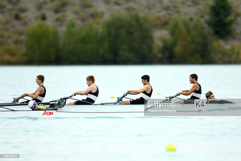 Rainer Wichman Jordon Gasson Zack Andrews Campbell Stevens and Trent Burbridge compete in the mens under19 coxed four final during the South Island...