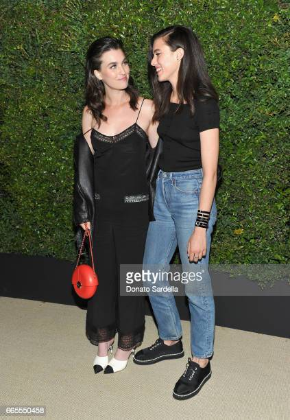 Rainey Qualley and Margaret Qualley attend Caroline De Maigret and Pharrell Williams dinner in celebration of CHANEL's Gabrielle Bag at Giorgio Baldi...