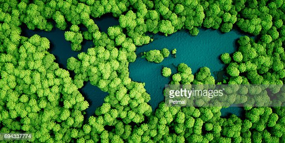 Rainforest lakes in the shape of world continents. Environmentally friendly sustainable development concept. 3D illustration. : Foto de stock