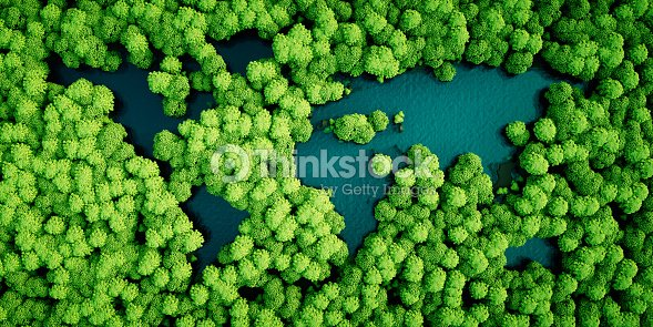 Rainforest lakes in the shape of world continents. Environmentally friendly sustainable development concept. 3D illustration. : Stock Photo