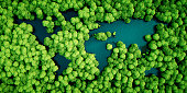 Rainforest lakes in the shape of world continents. Environmentally friendly sustainable development concept. 3D illustration.