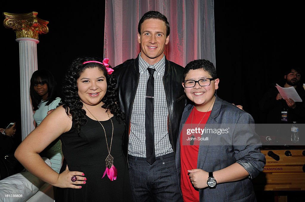 Raini Rodrigez, Ryan Lochte and Rico Rodriguez attend the Third Annual Hall of Game Awards hosted by Cartoon Network at Barker Hangar on February 9, 2013 in Santa Monica, California. 23270_004_JS_0326.JPG