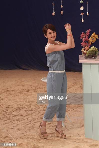 Rainie Yang at a brand advertising shooting site in cool and refreshing jumpsuits on Friday March 152013 in Taipei TaiwanChina