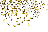 rain of golden confetti on white background