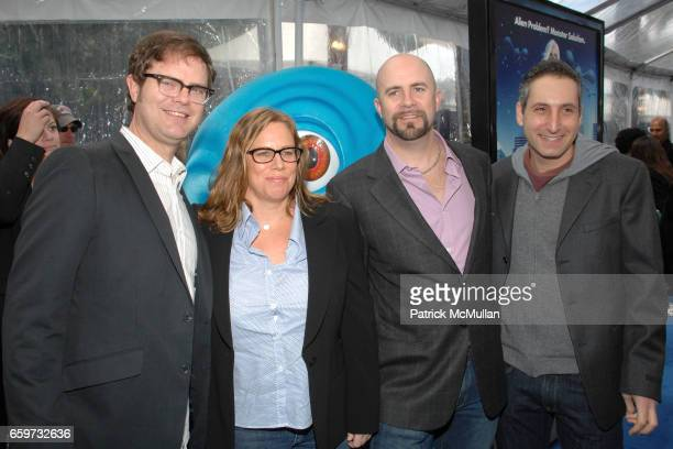 Rainn Wilson Lisa Stewart Conrad Vernon and Rob Letterman attend 'Monsters vs Aliens' Los Angeles Premiere at Gibson Amphitheatre on March 22 2009 in...