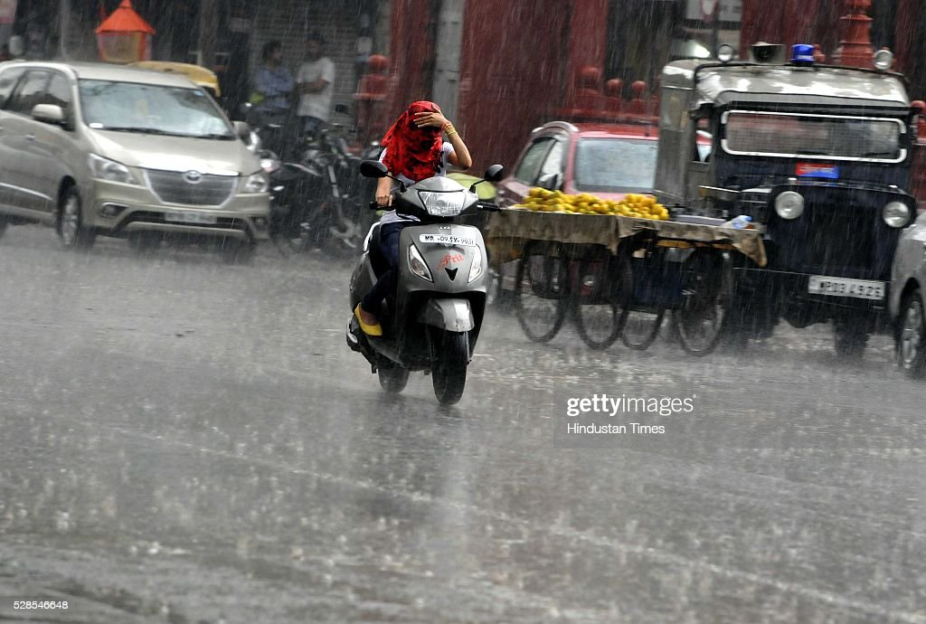 Rains lashed Indore on Thursday evening rains brought hail storm on May 5, 2016 in Indore, India. According to the weatherman moisture incursion is taking place in the state from Arabian Sea which has lead to the unprecedented unseasonal rain. Bhopal recorded a rainfall of 1.5mm during the last 24 hours.