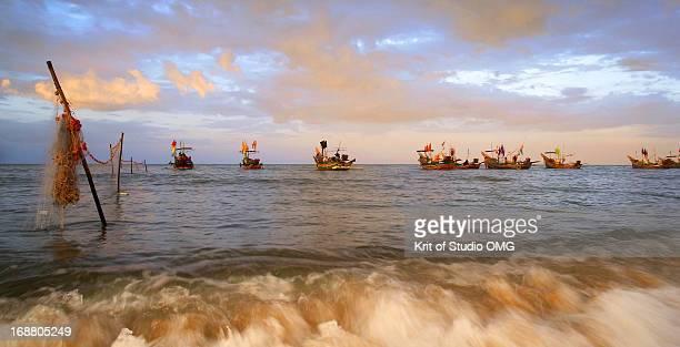 Rainstrom and fishing boats