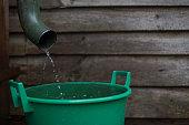 Rainwater, Pouring, Gutter, Collectiong, Reservoir