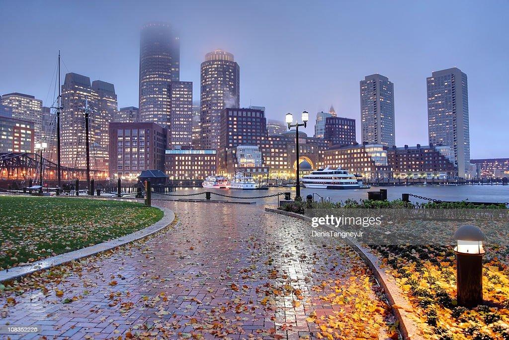 Rainy autumn night in Boston : Stock Photo