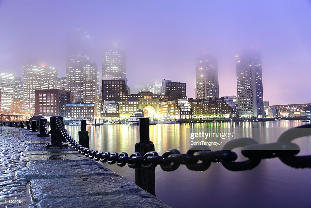 Rainy Night in Boston : Stock Photo