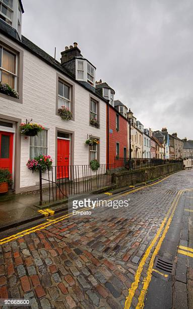 Rainy day on a village street, Scotland.