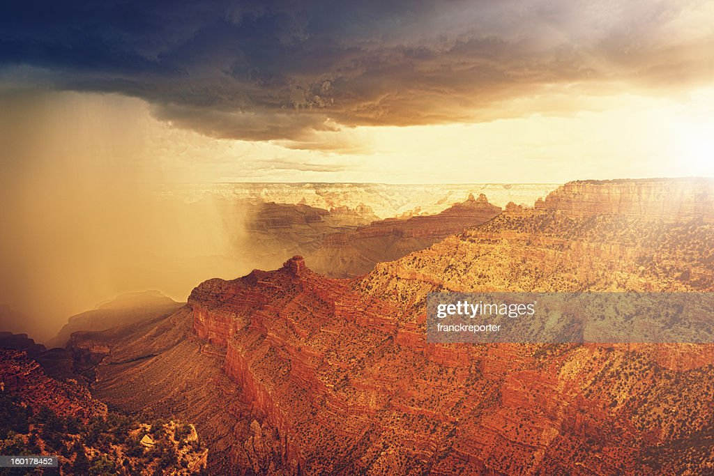 Rainy storm at sunset on Grand canyon - USA : Stock Photo