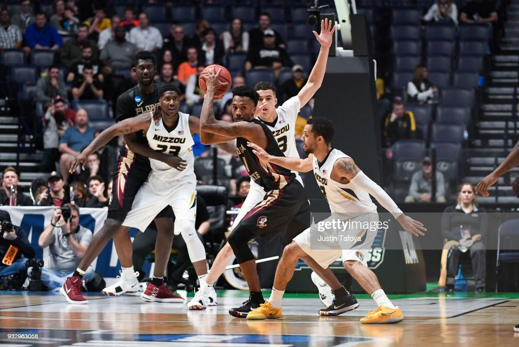 Raiquan Gray #1 of the Florida State Seminoles rebounds against the Missouri Tigers in the first round of the 2018 NCAA Men's Basketball Tournament held at Bridgestone Arena on March 16, 2018 in Nashville, Tennessee.