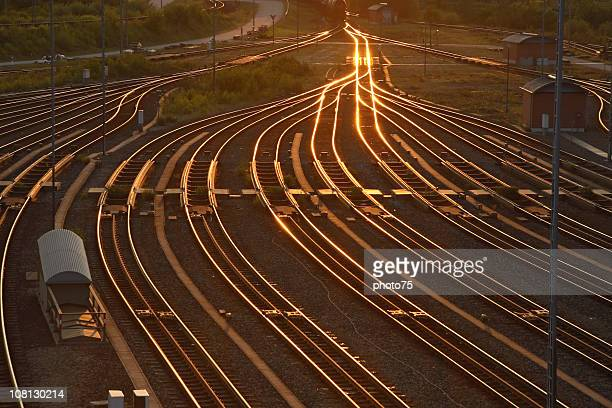 Rairoad Marshaling Yard at Sunset
