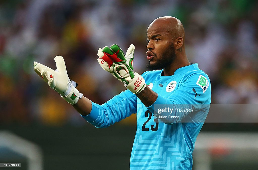 Rais M'Bolhi of Algeria looks on during the 2014 FIFA World Cup Brazil Group H match between Algeria and Russia at Arena da Baixada on June 26, 2014 in Curitiba, Brazil.