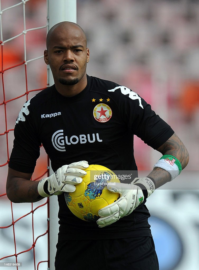Rais M'Bolhi of PFC CSKA Sofia in action during the Bulgarian A PFG League match between PFC CSKA Sofia and PFC Litex Lovech held on May 19, 2012 at the Bulgarian Army Stadium in Sofia, Bulgaria.