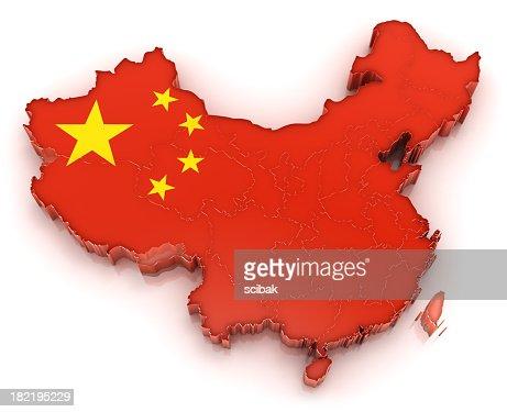Raised 3D map of China with its flag